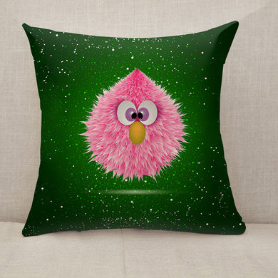 Funny Pink Baby Hairy Monster Throw Pillow [With Inserts]
