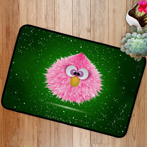 Funny Pink Baby Hairy Monster  Bath Mat
