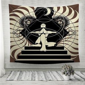 Woman in yoga pose Wall Tapestry