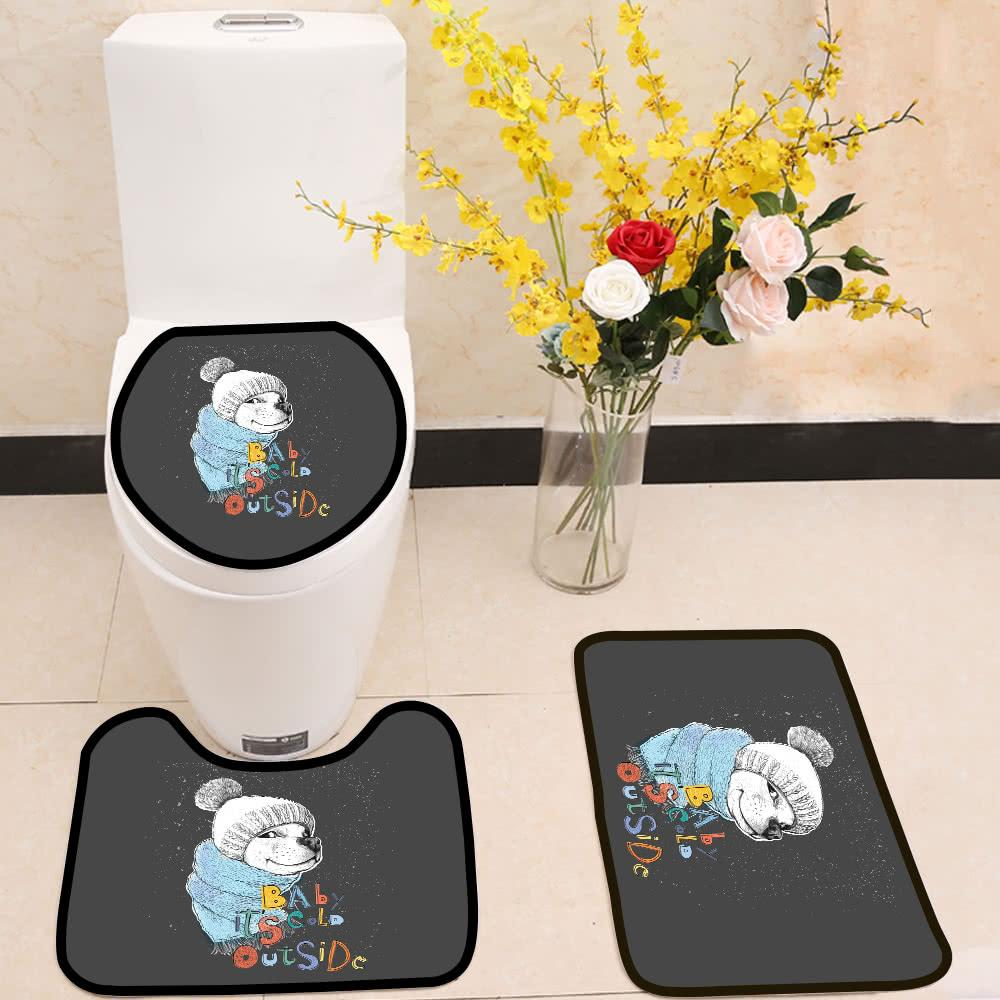 Cute Dog In A Hat And Scarf 3 Piece Toilet Cover Set Itday