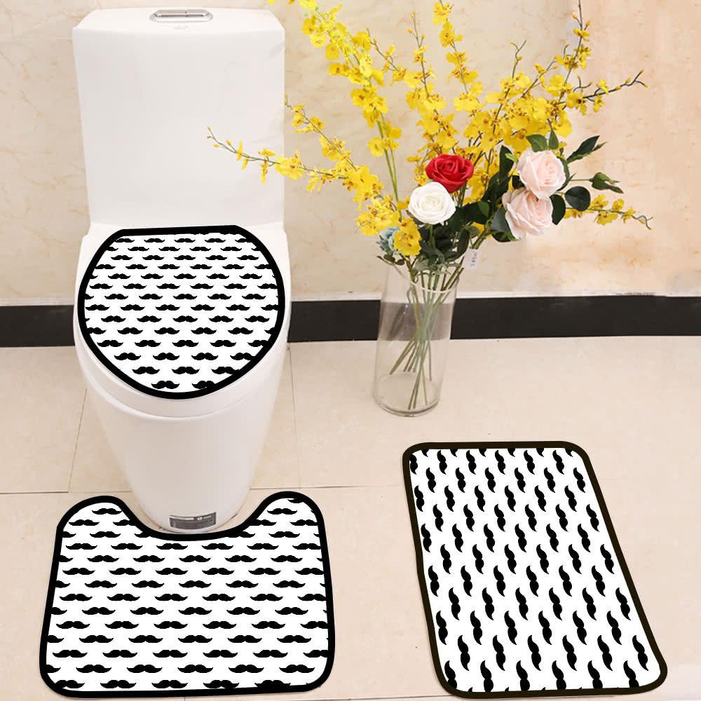Black Mustaches Pattern 3 Piece Toilet Cover Set Itday