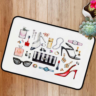 Female accessories high heel shoes perfumes lipstick Bath Mat