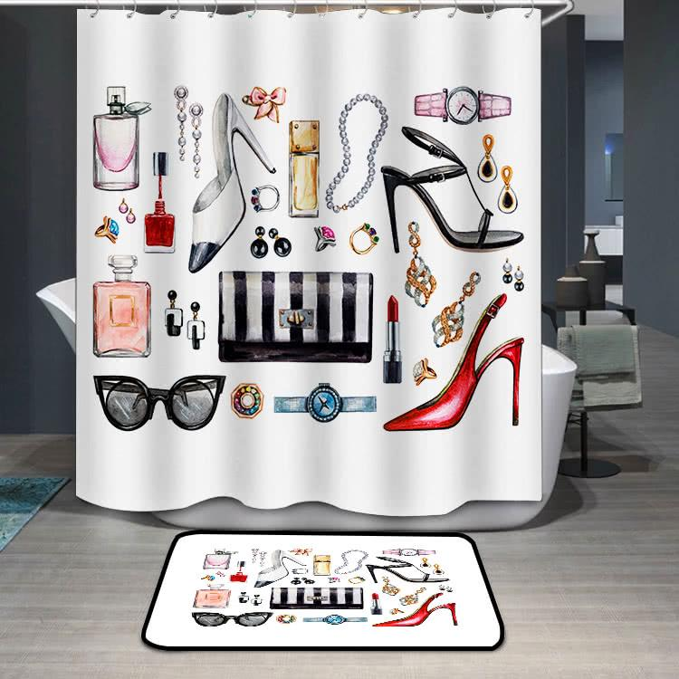 Female accessories high heel shoes perfumes lipstick Shower Curtain