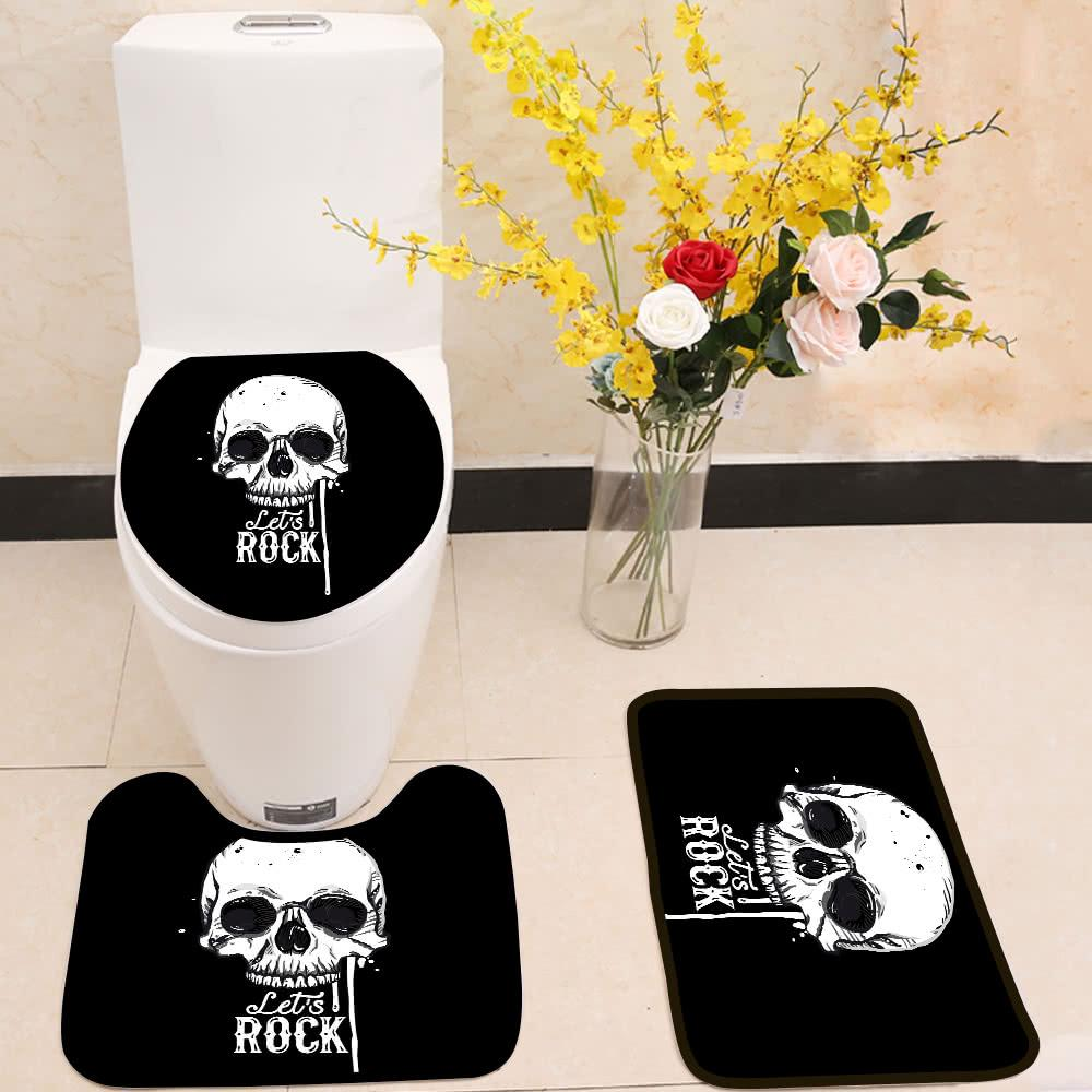 Let S Rock Skull 3 Piece Toilet Cover Set Itday