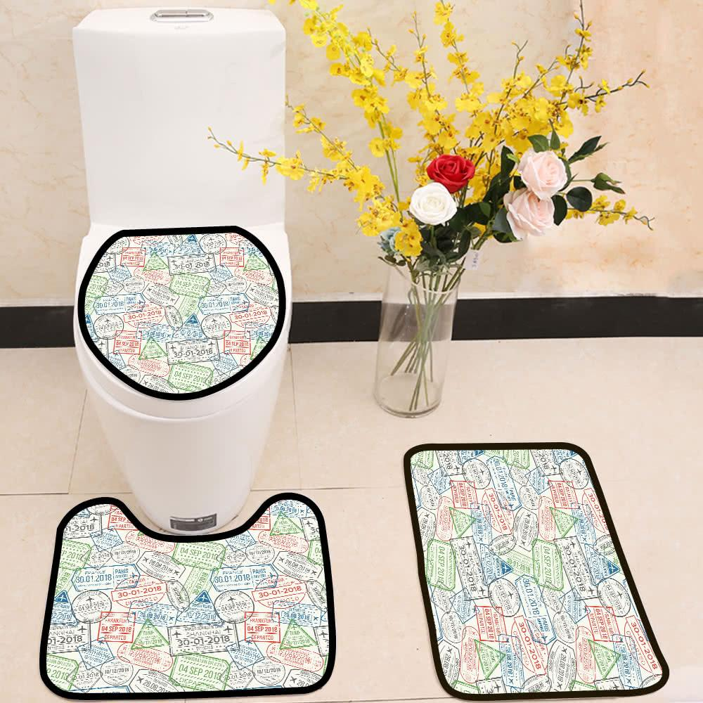Travel Visa Airport Stamps 3 Piece Toilet Cover Set Itday