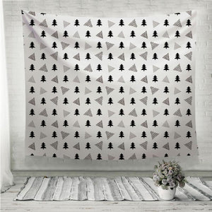 Black fir and triangles pattern Wall Tapestry