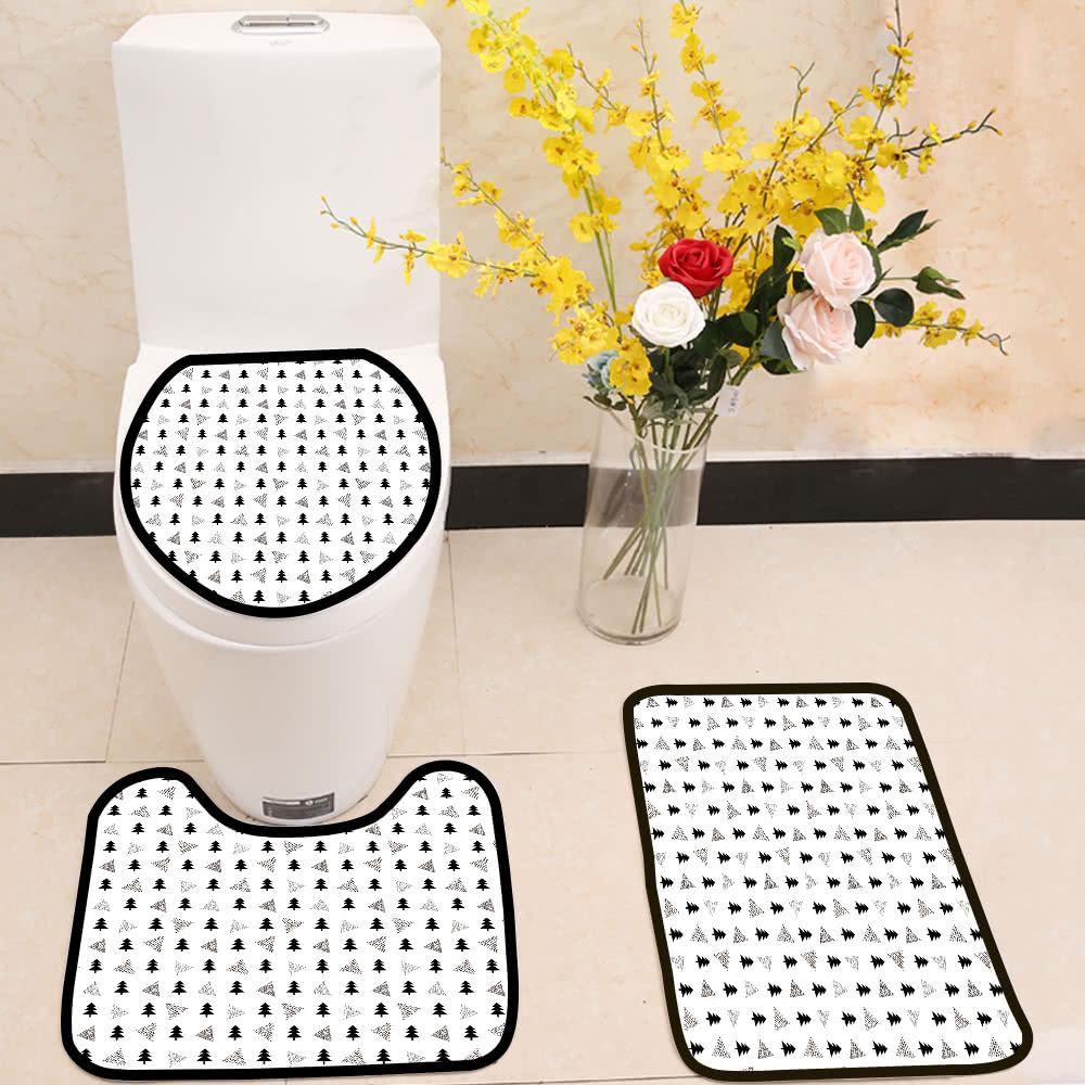 Black fir and triangles pattern 3 Piece Toilet Cover Set