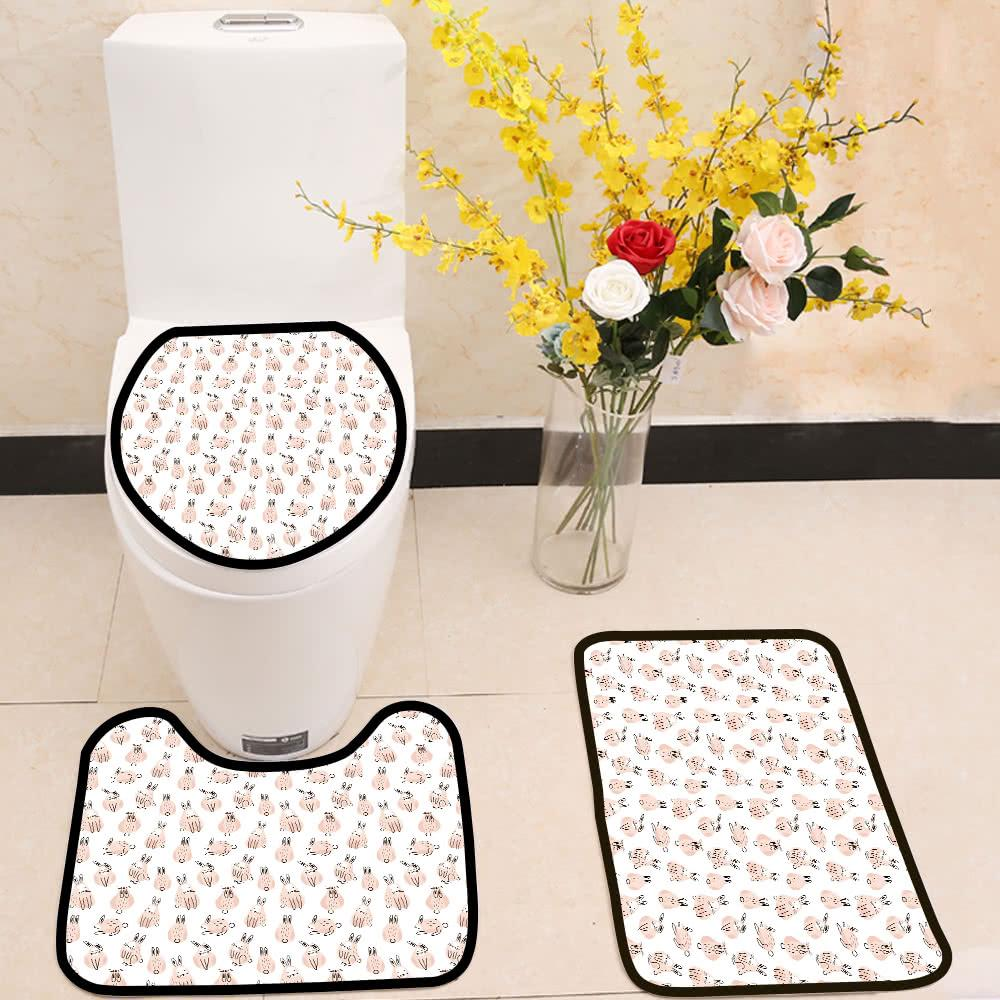 Funny cute rabbits pattern 3 Piece Toilet Cover Set