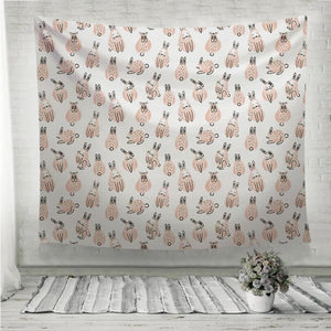 Funny cute rabbits pattern Wall Tapestry