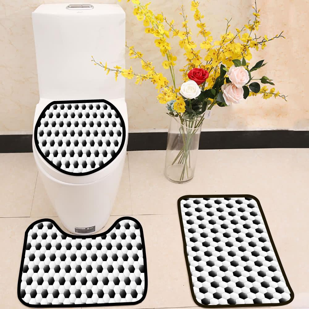 Soccer football pattern 3 Piece Toilet Cover Set