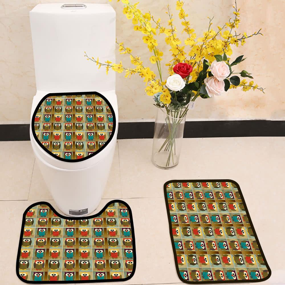 Fabric owl 3 Piece Toilet Cover Set