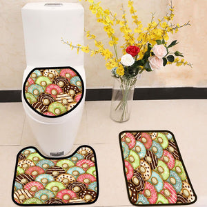 Colorful donuts pattern 3 Piece Toilet Cover Set