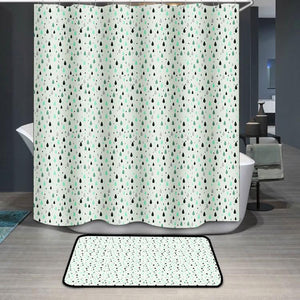 Green rain drops pattern Shower Curtain