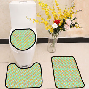 Comic cartoon cats meow 3 Piece Toilet Cover Set