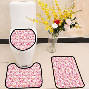 Pink hearts for Valentine's day 3 Piece Toilet Cover Set