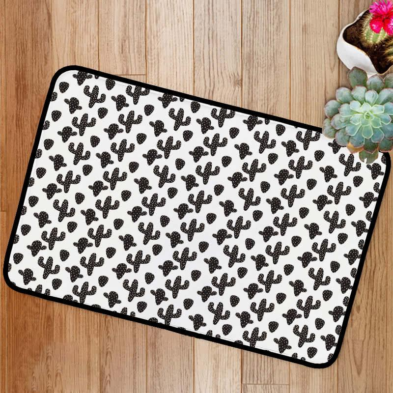Cactus plant black and white Bath Mat