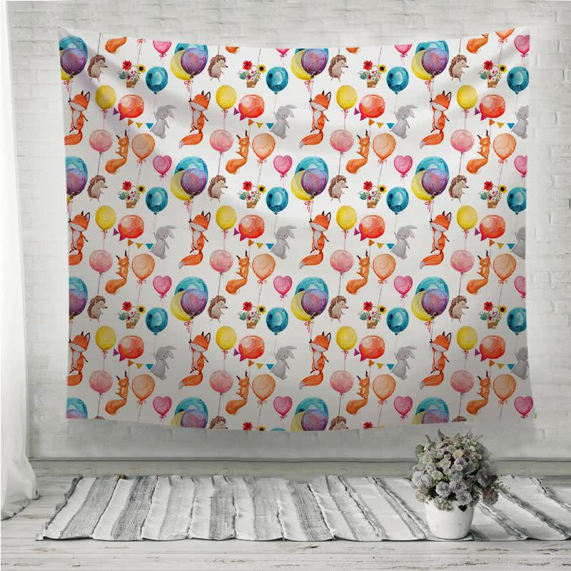 Cute animals with balloons Wall Tapestry
