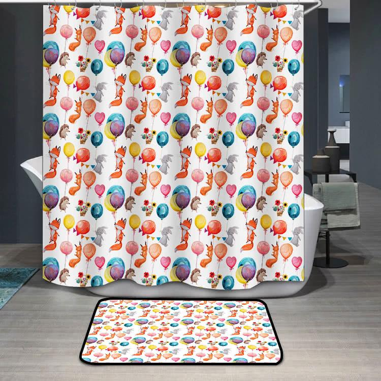 Cute animals with balloons Shower Curtain