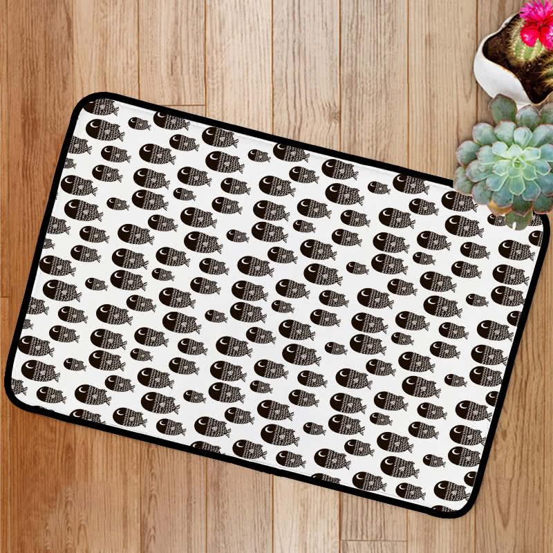 Cartoon black and white fishes Bath Mat