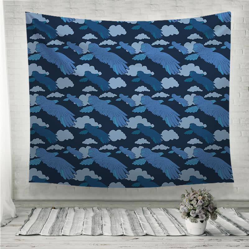 Blue eagle pattern Wall Tapestry