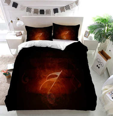 Abstract flowing fire background with music notes Duvet Cover Bedding set