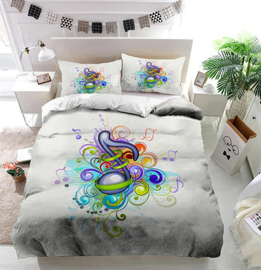 Colorful music notes Duvet Cover Bedding set
