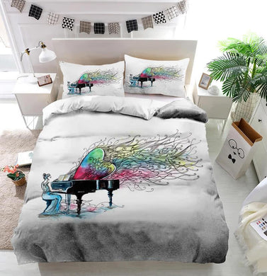 Woman playing piano music Duvet Cover Bedding set