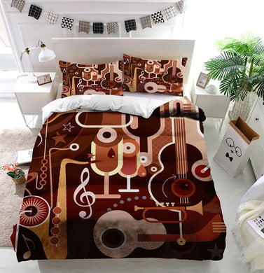 Abstract musical instruments Duvet Cover Bedding set