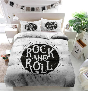 Black and white rock and roll Duvet Cover Bedding set