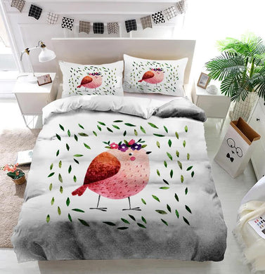 Watercolor pink bird with green leaves Duvet Cover Bedding set