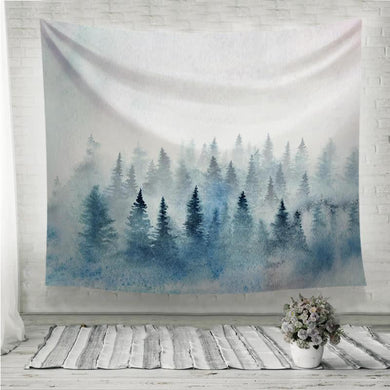 Watercolor foggy forest with spruce trees Wall Tapestry