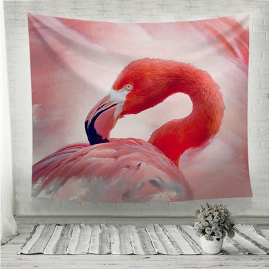 Flamingo portrait watercolor painting Wall Tapestry