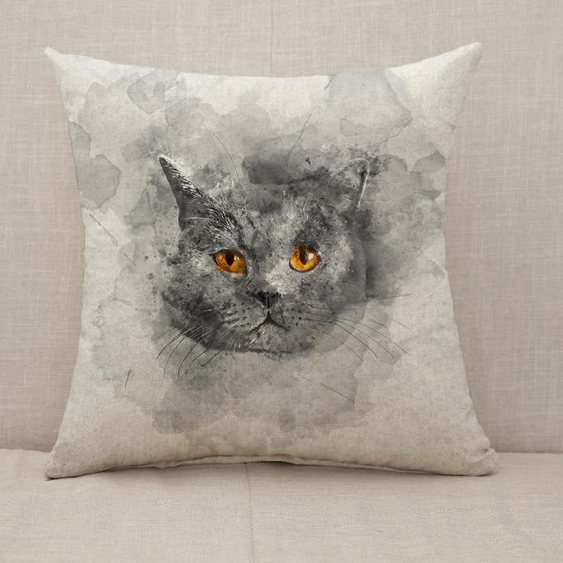 Cute British shorthair cat Throw Pillow [With Inserts]