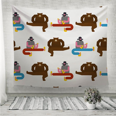 Russian man and bear dance Wall Tapestry