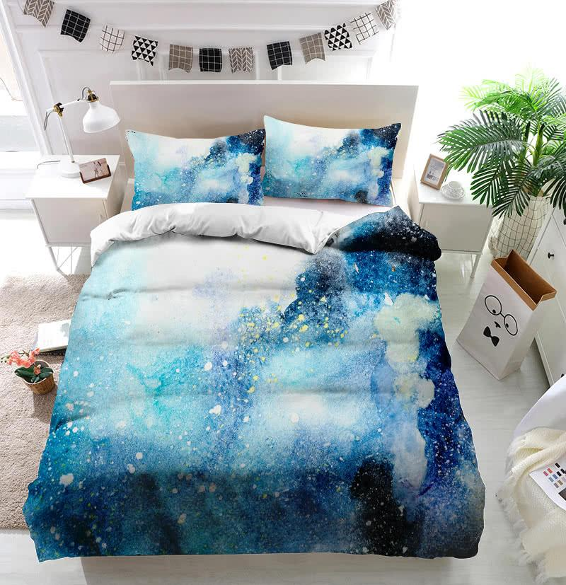 Watercolor blue pink purple stain drips blobs Duvet Cover Bedding set
