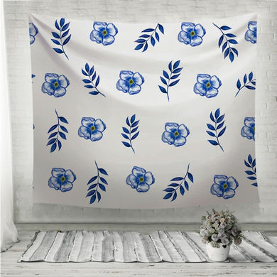 Cute Floral pattern of blue small flowers and leaves Wall Tapestry