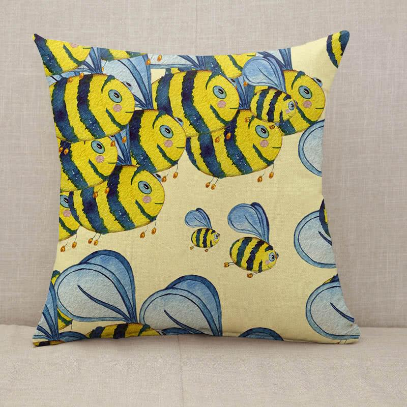 Happy flying bees Throw Pillow [With Inserts]