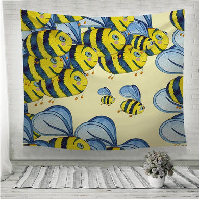 Happy flying bees Wall Tapestry