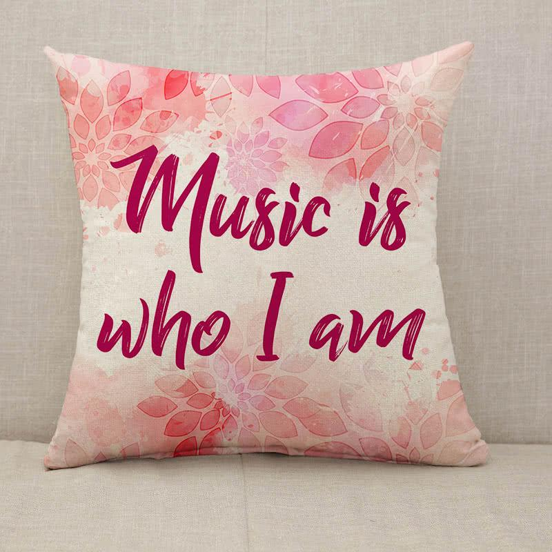 Music is who I am pink floral Throw Pillow [With Inserts]