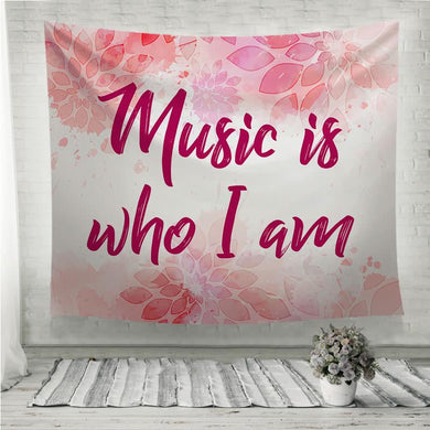 Music is who I am pink floral Wall Tapestry