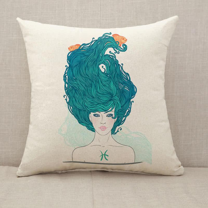 Astrological sign beautiful girl Throw Pillow [With Inserts]