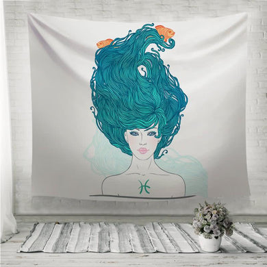 Astrological sign beautiful girl Wall Tapestry