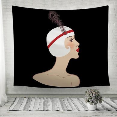 Flapper retro blond girl Wall Tapestry