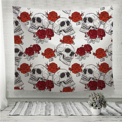 Red Roses and skulls Pattern Wall Tapestry