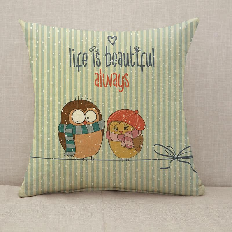 Life is beautiful couple birds Throw Pillow [With Inserts]