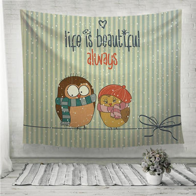 Life is beautiful couple birds Wall Tapestry