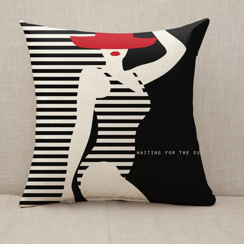 Stylized woman with hut waiting for the summer Throw Pillow [With Inserts]