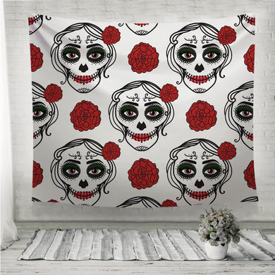 Catrina woman with make up of sugar skull Wall Tapestry