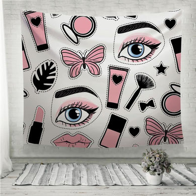 Abstract beauty makeup face fashion style Wall Tapestry