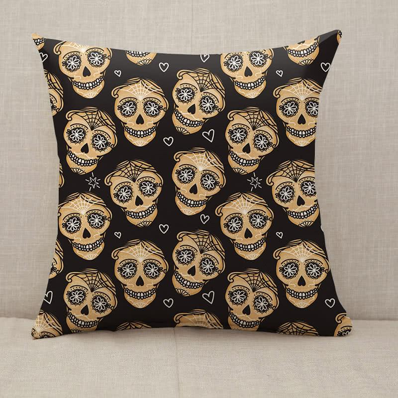 Gold Calavera skull Throw Pillow [With Inserts]
